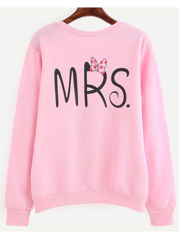 Cute Mrs Pink Letter Print Pullover Sweatshirt