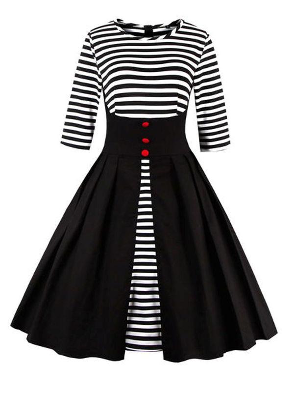 euro stripe retro style half sleeve a line dress ssw7nazk101968