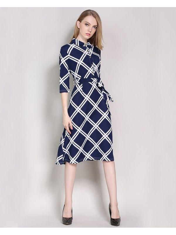 British Style Rhombus Pattern Dress