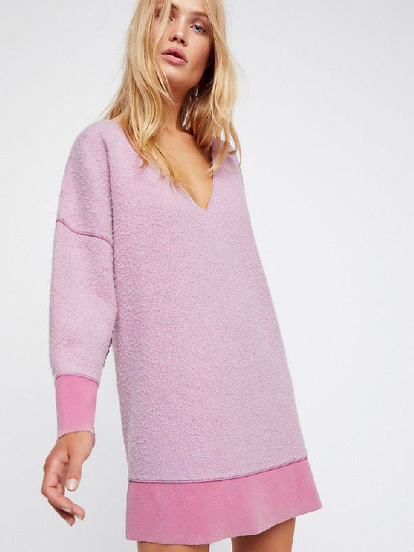 537fd17b2f2 Pastel Color Oversized V Neck Loose Pullover Dress - Also in Plus Size