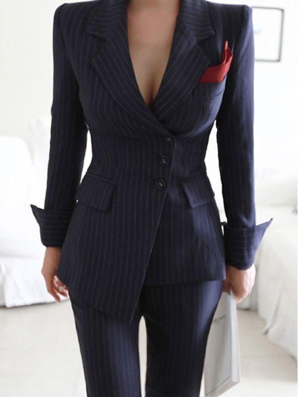 Premium Fashionista Suit Dark Blue Striped OL Style , Coat \u0026 Pants