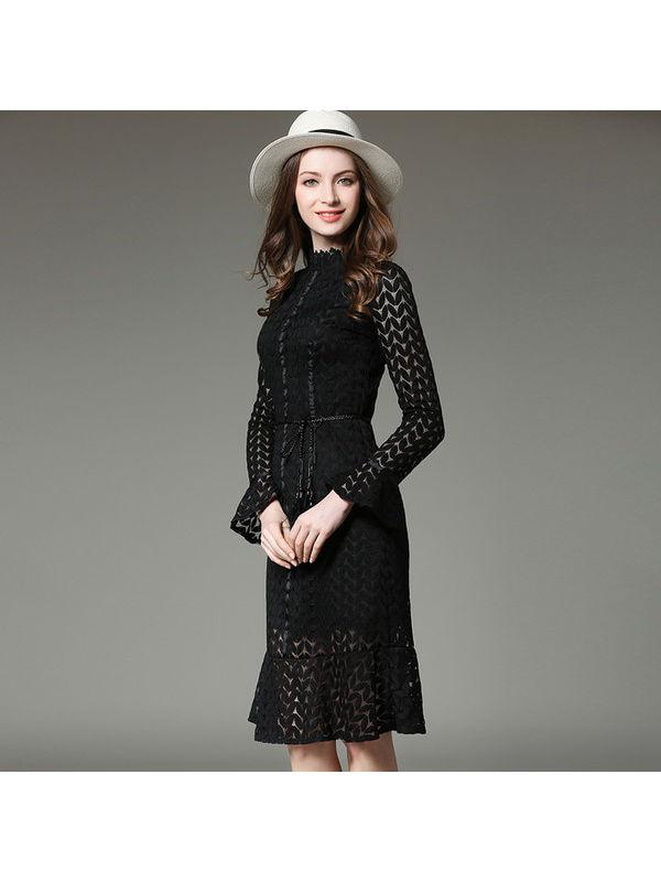 06c84e3e4d8 Premium Lace Hollow Out Fishtail Dress