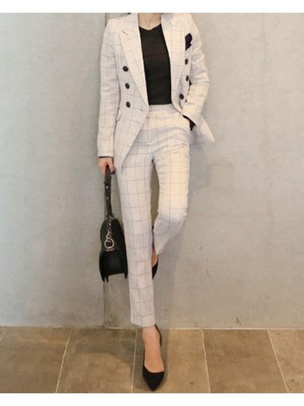 Premium Office Lapel Plaid Pocket Women Suit Set - Jacket and Pants decef23a66