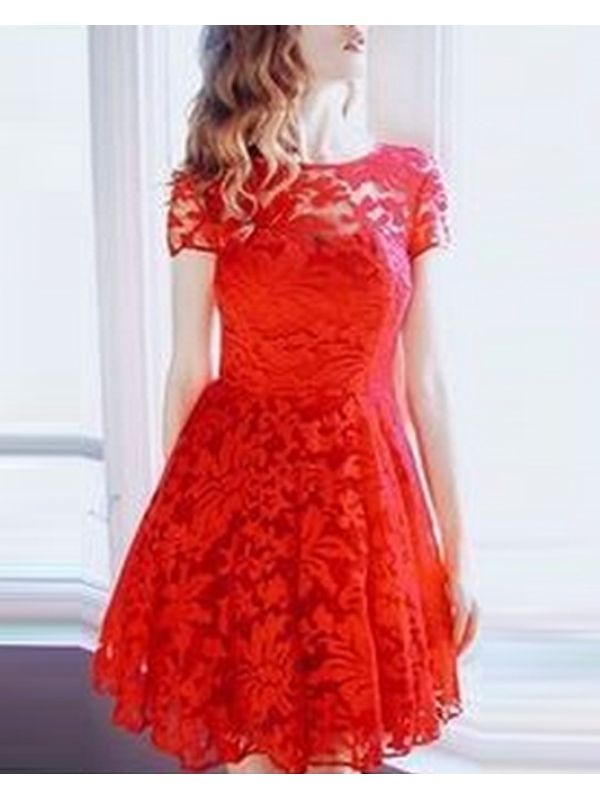 0527543ed053 Red Cute Lace Aline Flare Dress