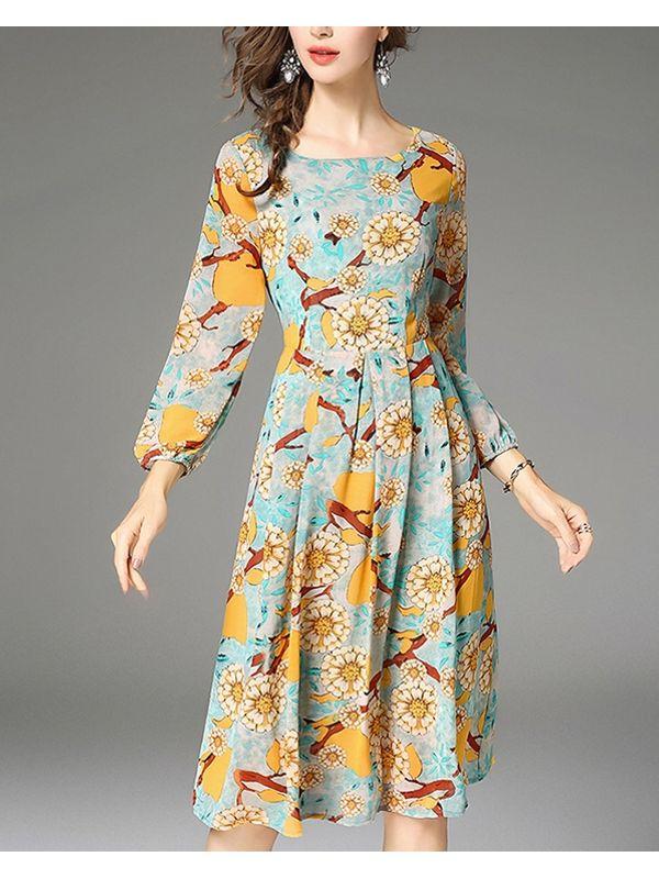 5bba9046cd Retro Floral Long Sleeve A Line Dress