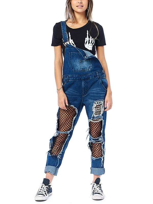 208b1d80f5 Rockstar Style Patchwork Worn Out Denim Overall