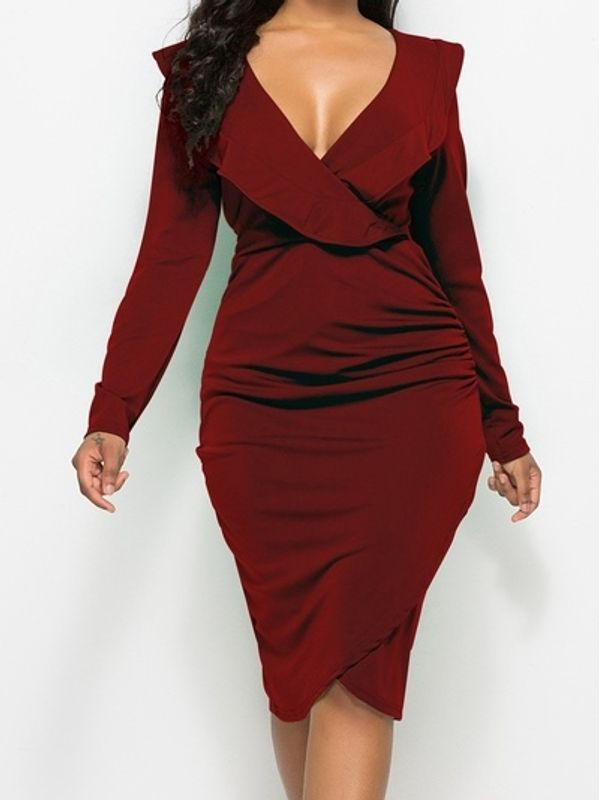 Ruffle Solid V Neck Long Sleeve Asymmetrical Dress Also In Plus Size