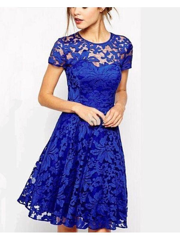 Blue Cute Lace Aline Flare Dress