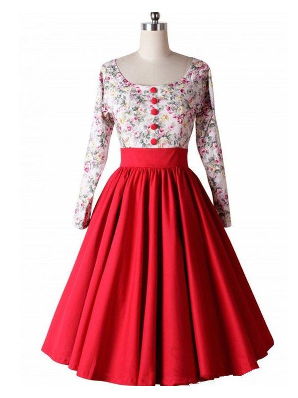 Hepburn 50s Style Floral Prints Party Dress