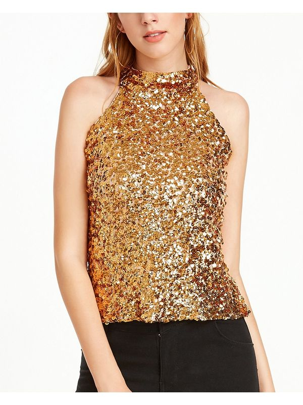 Bling Keyhole Back Sequined Top