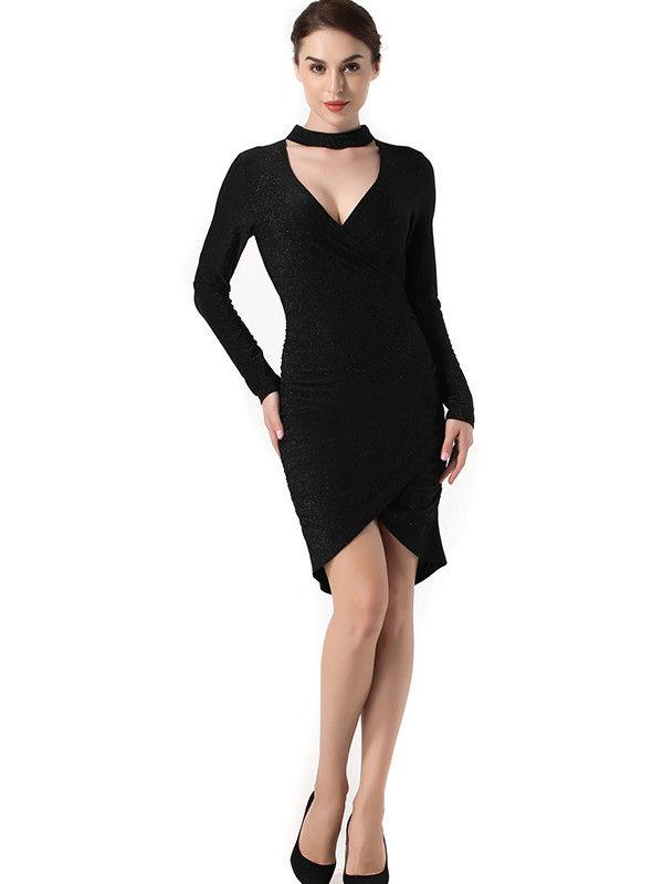 d33eb573f8 Sexy Black Tulip Hem Choker Dress