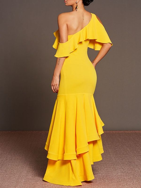 7be75fe4ba1b Sexy Off Shoulder Ruffle Fishtail Fitted Evening Maxi Dress