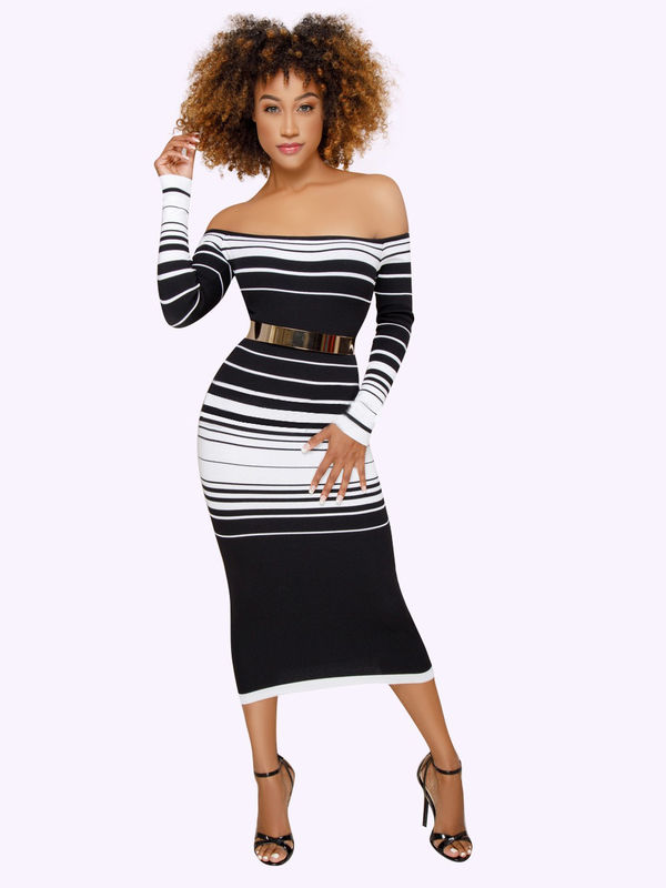 1521318f72ae Sexy Off Shoulder Striped Long Sleeve Dress