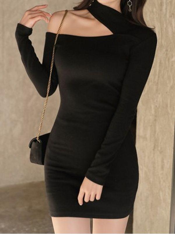 Sexy One Shoulder Long Sleeve Bodycon Black Dress