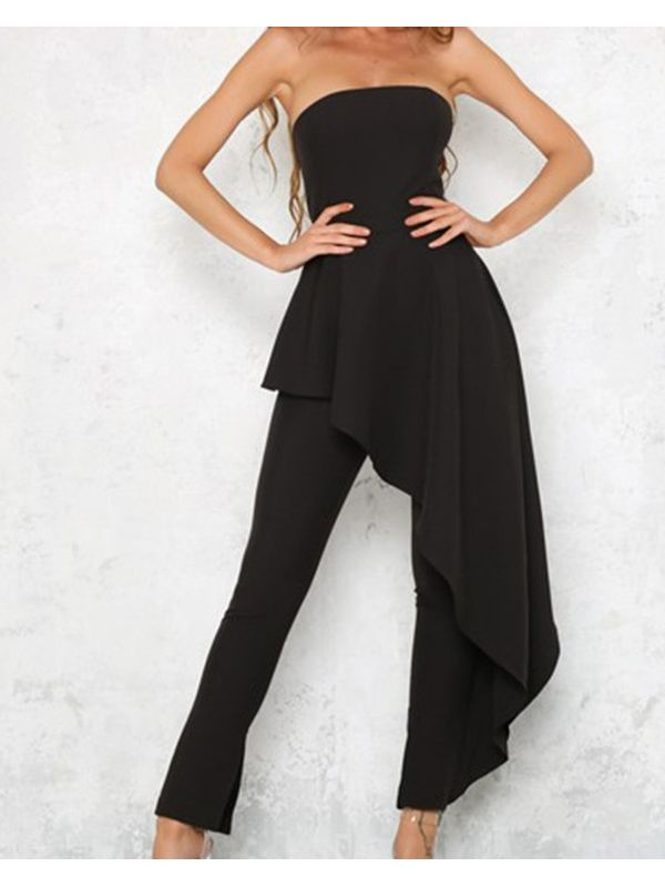 1f1c29ffe19 Sexy Strapless Asymmetrical Ruffle Solid Party Jumpsuit