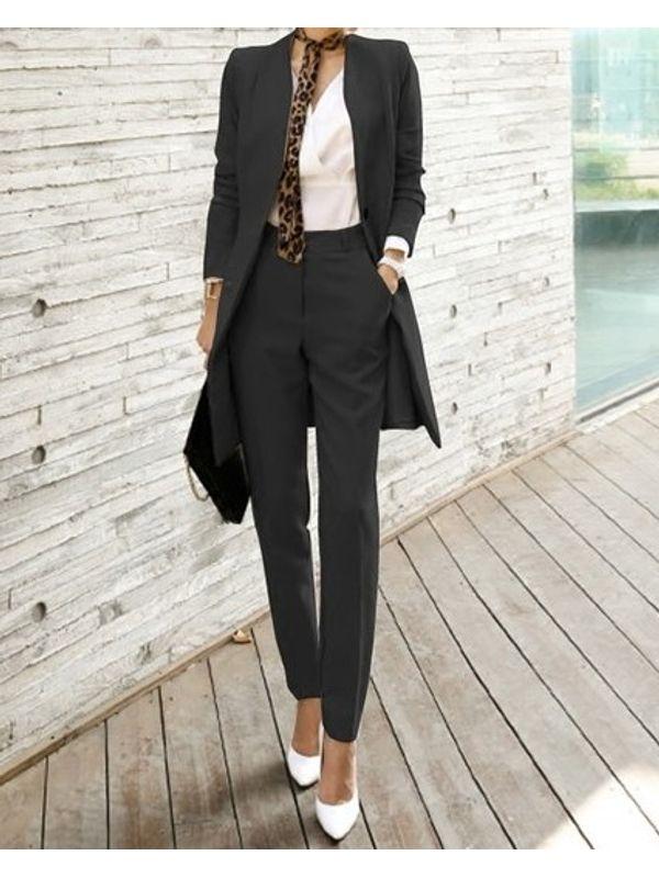 Slick Formal Office Wear Long Sleeve Solid Women Suit Blazer Pants