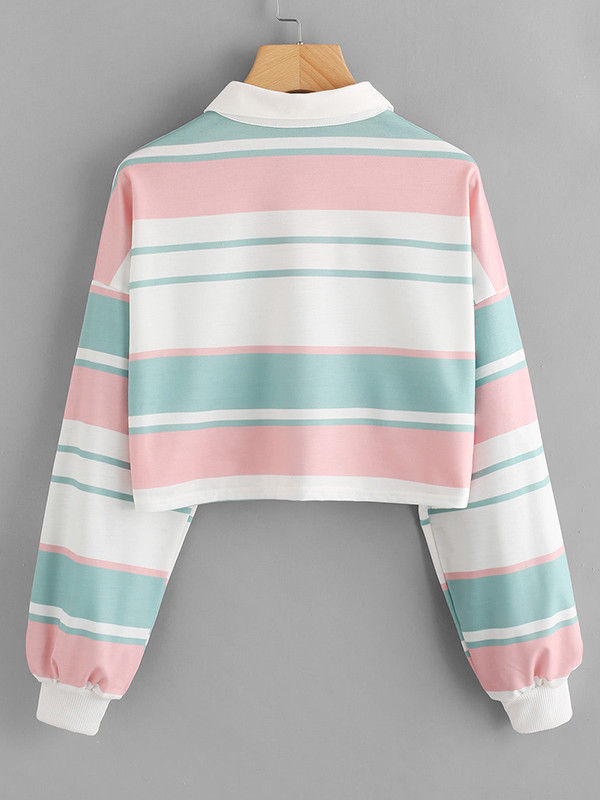 d792d9486fa Suave Subtle Color Contrast Striped Long Sleeve Crop Top Collar Tshirt -  Also in Plus Size