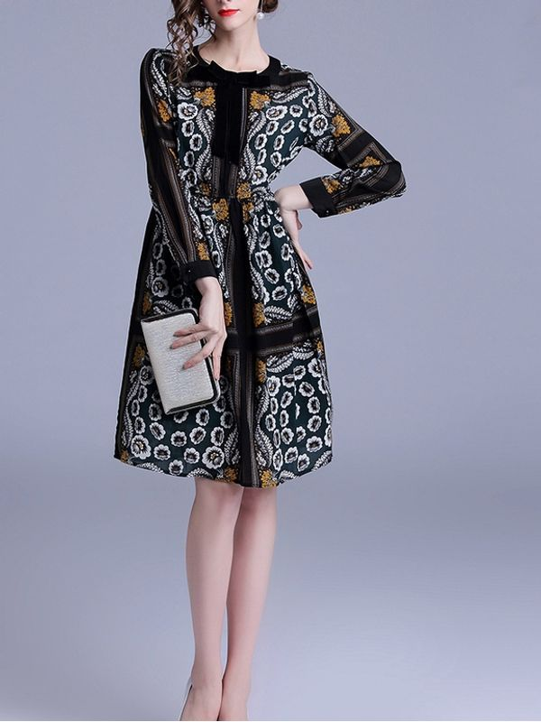 9e9bbe8a4756 Vintage Style Floral Printed Long Sleeve Dress