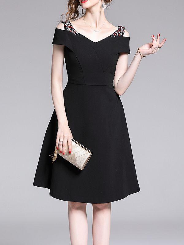 814eb4c37f9a Vintage Style Solid Open Shoulder Cocktail Dress