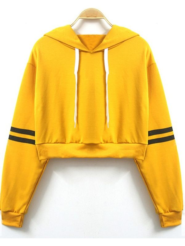 Yellow Sunkissed Sporty Crop Hoodie