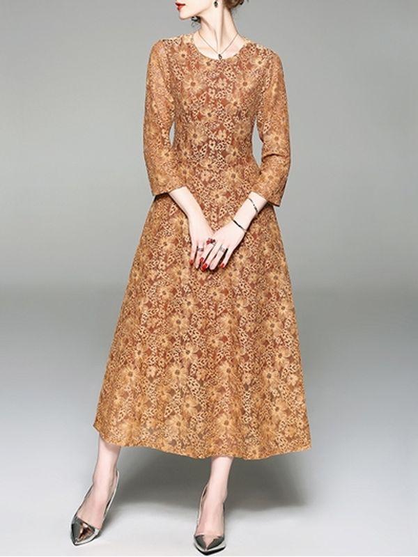 Calf Length Lace Dresses