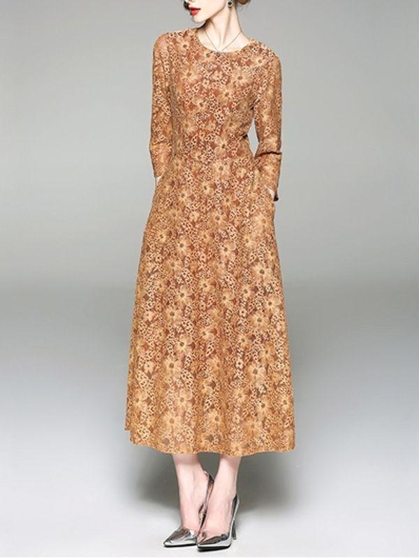 Euro Style Elegant Mid Calf Length Lace Dress