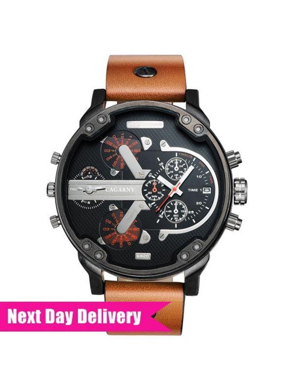 CAGARNY Big Dial 6820 Black-Tan Analog Dual Time Watch - For Men