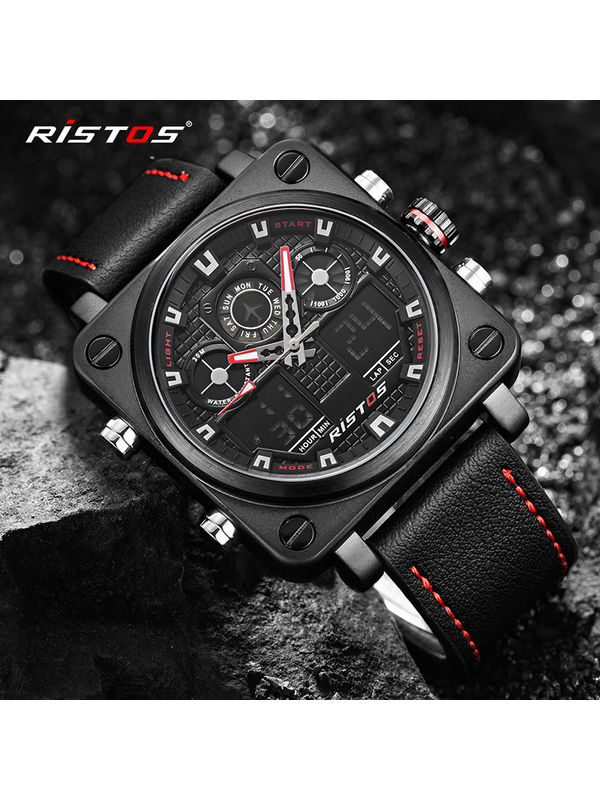 RISTOS-9343 Black Chronograph Watch For-men