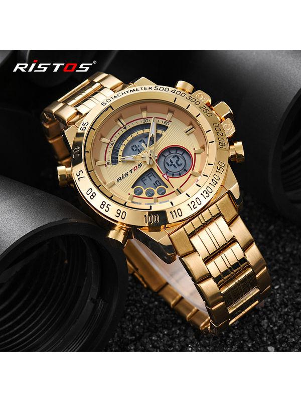 RISTOS - 9339 - Analog Digital Gold Watch for Men