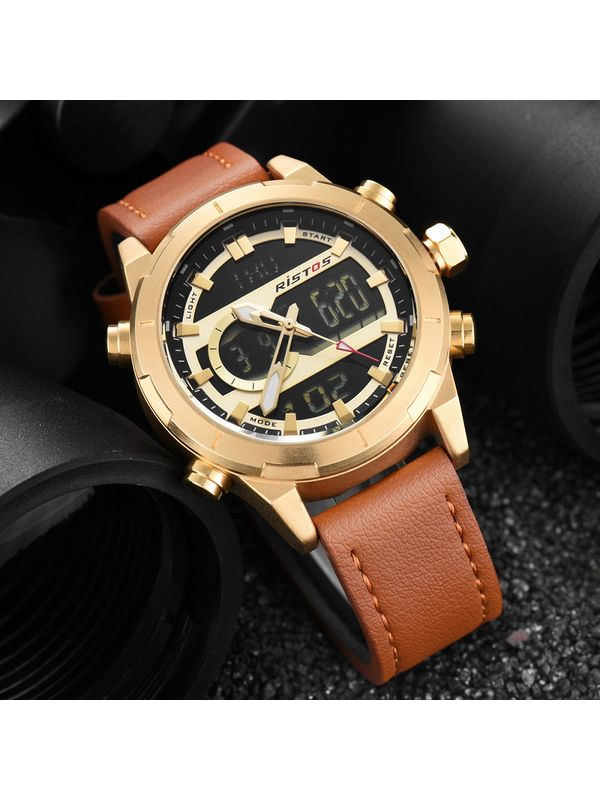 RISTOS-9342-GOLD ANALOG DIGITAL CHRONOGRAPH WATCH FOR MEN'S