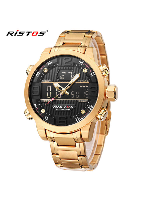RISTOS - 9338 Gold Analog Digital Chronograph watch for  - Men