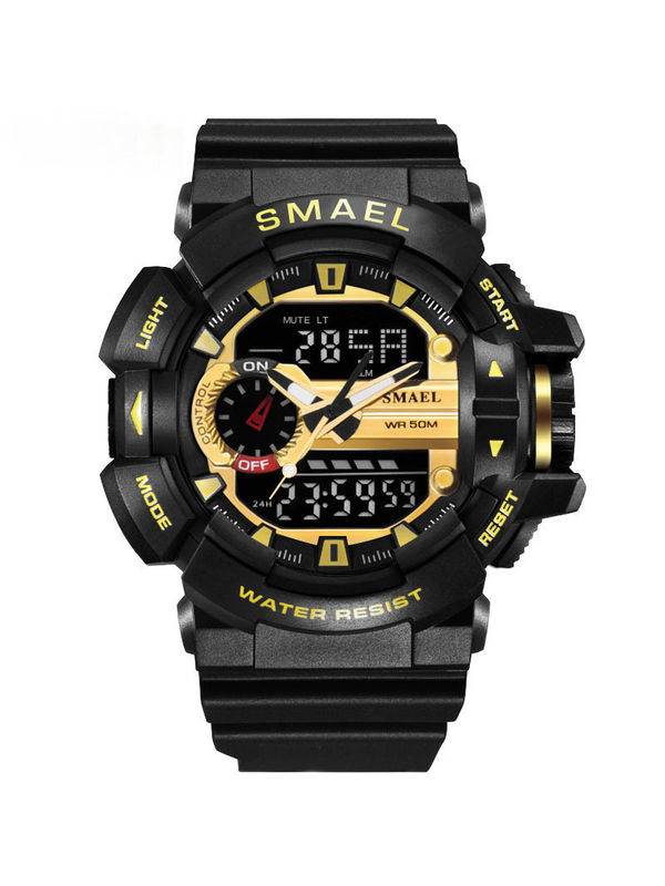 Overfly-SMAEL 1436-Black-Gold Analog Digital Chronograph Watch For-Men