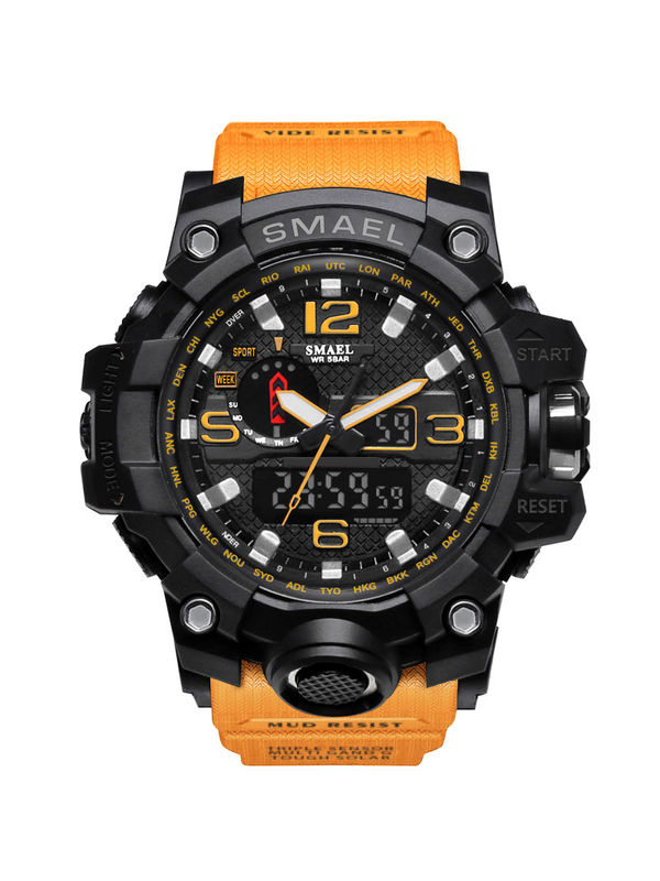 OVERFLY-Smael-1545 Yellow Analog-Digital Chronograph Watch For- Men