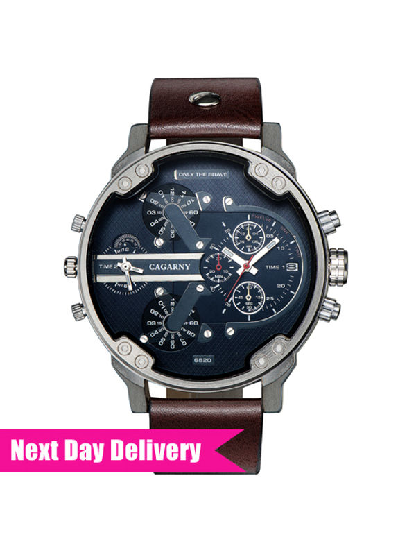CAGARNY Big Dial 6820 Blue-Brown Analog Watch - For Men
