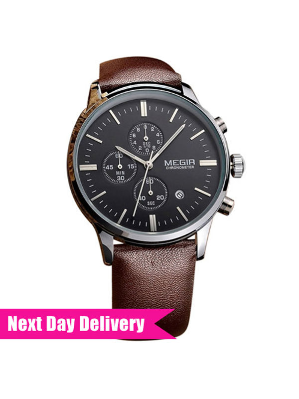 Megir-MG-2011-BLK-SLV  Analog  Mens Chronograph Watch