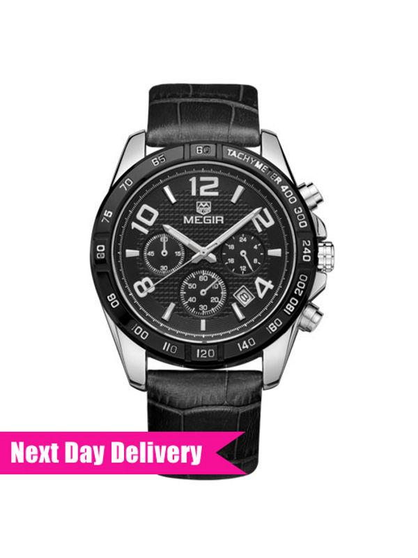 Megir 2014-Black Analog Chronograph Watch for-Men