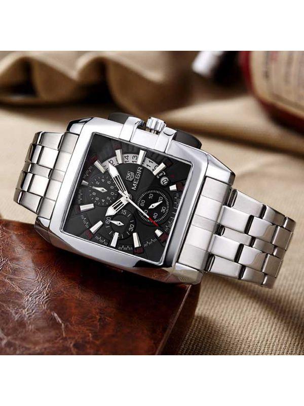 Megir-2018 Silver  Luxury  Chronograph Watch For-Men