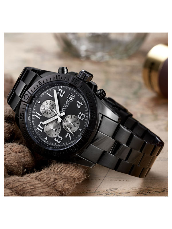 Megir-2030-Black Analog Chronograph Watch For-Men