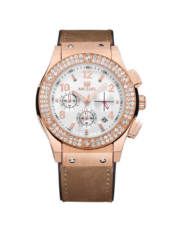 Megir-2034-Rose Gold Chronograph Watch For-Women