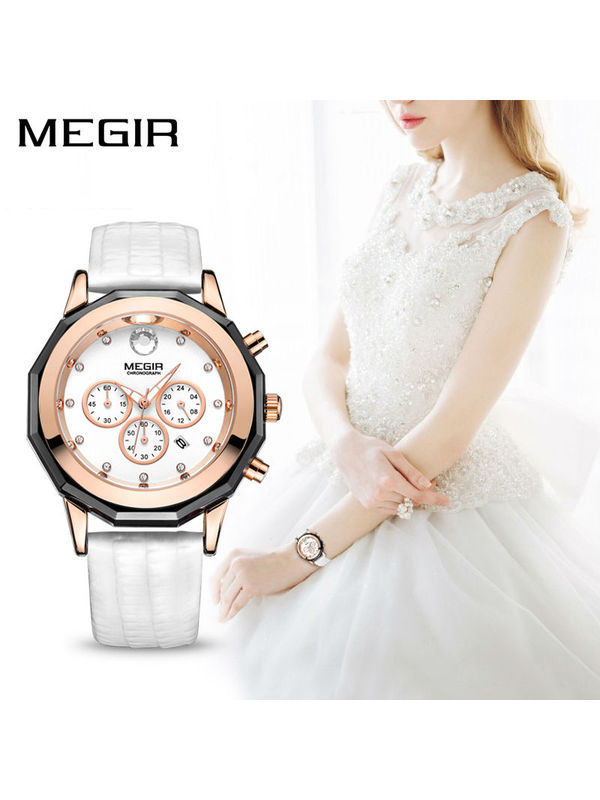 Megir-2042-White Analog-Chronograph Watch For- Women