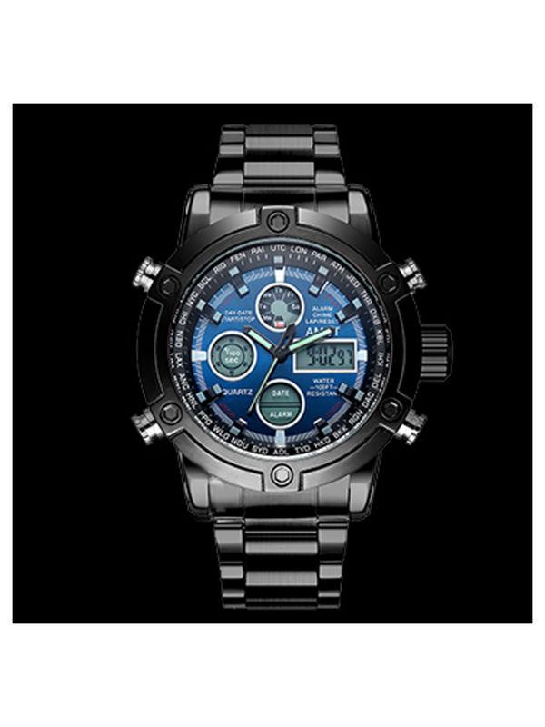 AMST-3022-Blue & Black Analog-Digital Chronograph Watch For-men