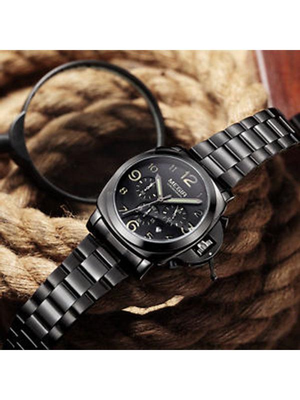 MEGIR-3406-Black Chronograph watch for-Men