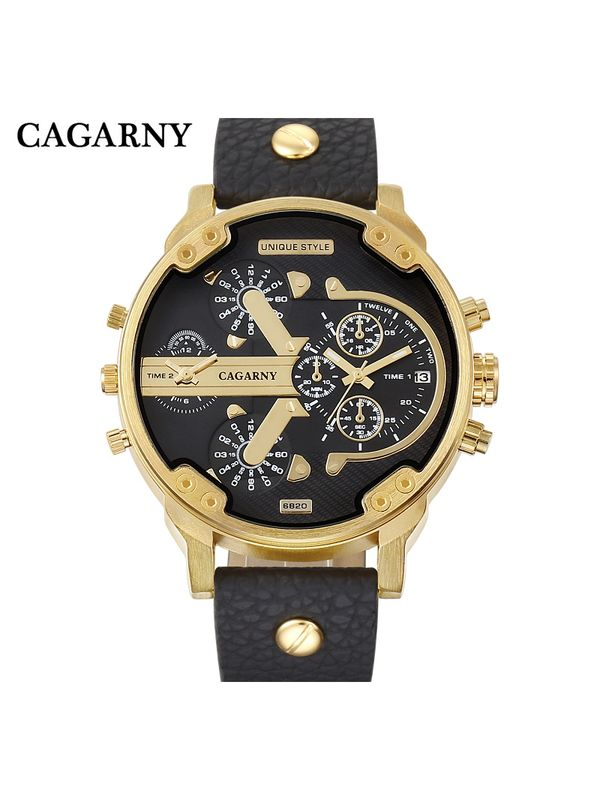 CAGARNY Big Dial 6820 Black-Green Analog Dual Time Watch - For Men