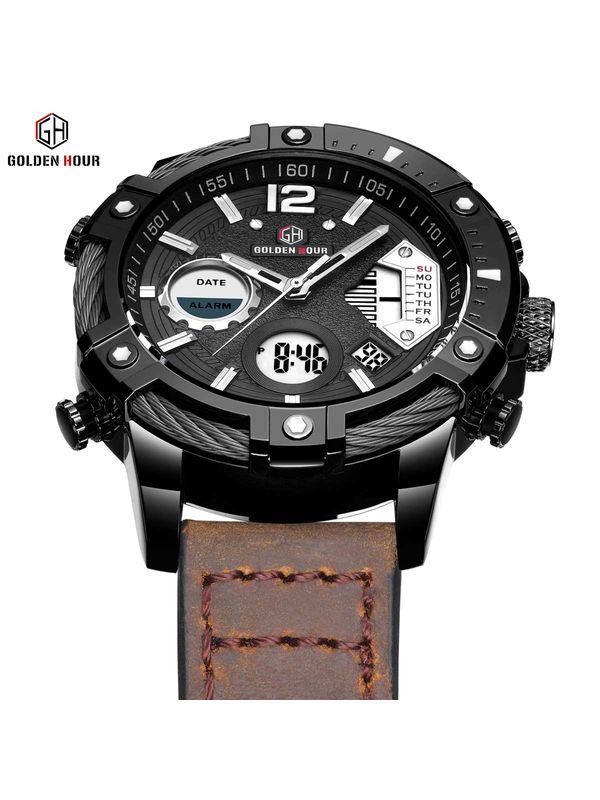 Megir-2030 Black-Silver Chronograph Watch For-Men