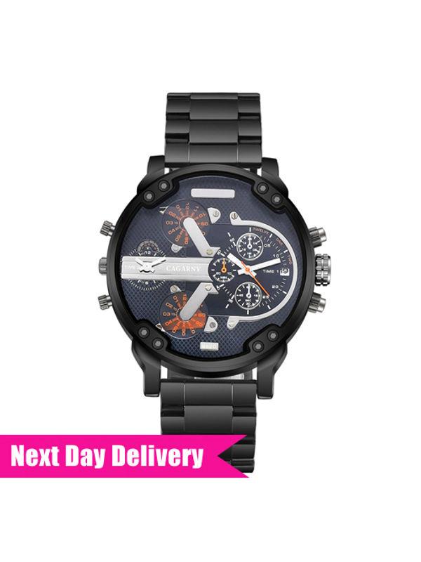CAGARNY Big Dial 6822 Black-Black Analog Dual Time Watch - For Men