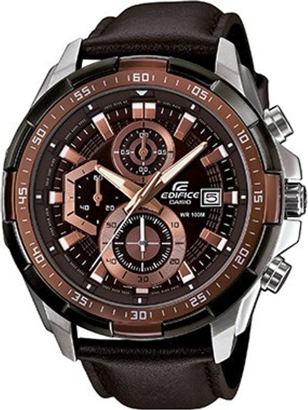 Casio Edifice Stopwatch Chronograph Brown Dial Men's Watch-(EX194)