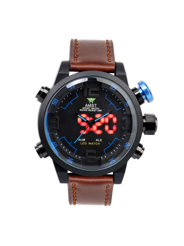 AMST-6014-Black LED Analog-Digital Watch for-Men