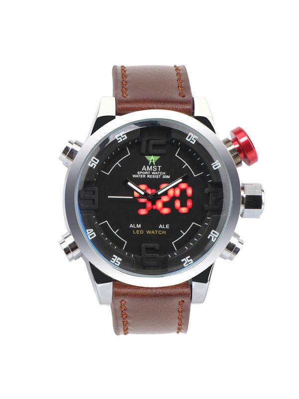 AMST-6015-LED Silver Analog-Digital Watch For-Men