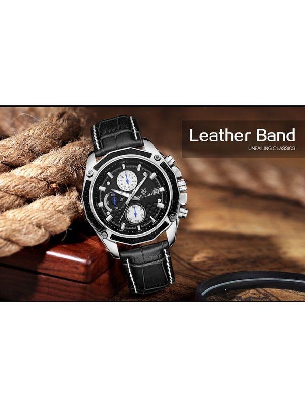 Megir-2015-Black Analog-Chronograph Watch For-Men