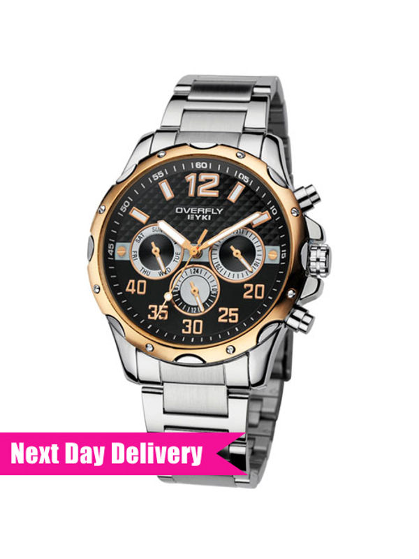 Overfly Eyki Chronograph Multifunction Watch For Men with Gold dial & steel strap EOV8572AG-SRG02